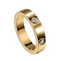 4mm titanium steel ring for men and women rose gold silver couple ring Fashion diamond