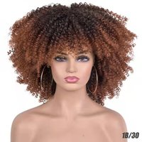 Short Hair Afro Kinky Curly Wig With Bangs For Black Women Cosplay Lolita Synthetic Natural Glueless Brown Mixed Blonde Wigs 12 Colors
