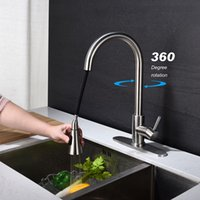 Single handle faucet tap high arc wire drawing nickel stainless steel kitchen sink big bend cold water sprayer