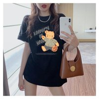 Women's T-Shirt Graphic Tees Teddy Bear Ride Out Letter Print White Cotton Female Top&Tees Summer Tee Shirts Tops Women