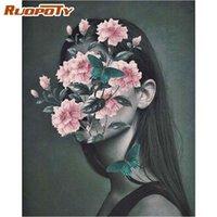 60x75cm imagem sem moldura por kits de números para adultos flor em mulher decoração de casa pintura artística original pinturas