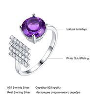 caffe007 anelli di pietra preziosa naturale ametista per le donne 925 sterling argento viola pietra elegante fidanzamento anello di fidanzamento gioielli gioielli 1587 Q2