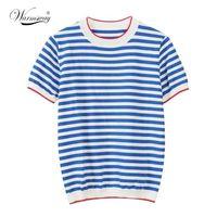 Isınma İnce Örme T Gömlek Kadın Giysileri Yaz Kadın Uzun Kollu Tees Çizgili Rahat T-shirt Kadın B-019 Tops Tops