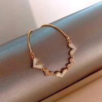 Link, Chain Zircons Adjustable Bracelet Bangle For Women Captivate Bar Slider Brilliant CZ Gold Color Loving Heart Jewelry Pulseira Feminia
