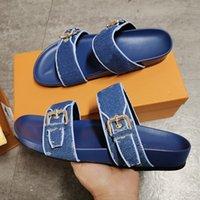 남성 여성 Bom Dia Flat Mule 슬라이드 샌들 디자이너 신발 슬리퍼 패션 더블 가죽 버클 프린트 슬리퍼 고무 솔 상자