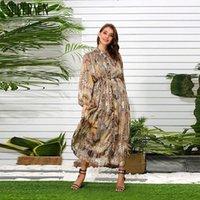 Повседневные платья Superaen Europe длинное платье Женщины Летние 2021Fashion Женские плиссированные шифон Печать одежды