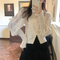 Women's Blouses & Shirts Vintage female blouse, Korean-style women's shirt in patchwork and lace, Korean style, for spring BAI1
