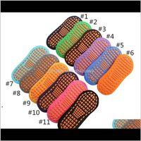 Party Favor Non-Slip Professional Indoor Yoga Sport Socks For Women Men Cotton Short Floor Footies Trampoline Sock 12 Colors Hhf6091 J Ehzgn