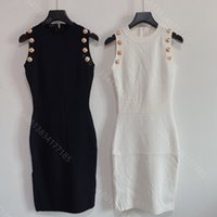 2021ss designer wool knit sweater dress women casual hoodies sweater metal buttons midi dresses shirt long sleeve high-end brand logo designer clothes womens
