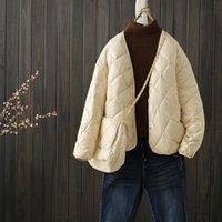 Женские пушистые Parkas Uvrcos Женщины 2021 зимняя ультра легкая куртка с сумкой Свободная повседневная короткая V-образным вырезом легкое белое утка осень
