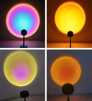 Sunset Lâmpada Projeção de 180 graus Rotação Night Light USB Romantic Rainbow para festa tema quarto decoração JH08