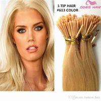 7A Grau Dupla Dupla Desenhada Remy Silky Loira Loira Ceratina Eu Tipo Pré-ligado Micro Fusion Hair Extension Salon Supply Tangling Free
