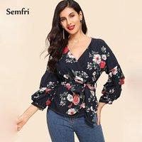 SEMFRI Çiçek Baskı Bayan Gömlek 2021 İlkbahar Yaz Uzun Fener Kol Kimono Bluz Vintage Yüksek Bel Kemer Bohemian Kadın Bluzlar Şi