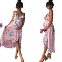 Maternity Dresses Clothes Elegant Pregnancy Dress Casual Floral Printed Ruffles Falbala Sundress For Pregnant Women
