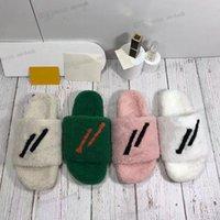 Moda Kadın Yün Sandalet Satan Kürk Terlik Kadın Terlik Ayakkabı Sonbahar Kış Slaytlar Sandal L'S Kuzu Peluş Sıcak Tüm Maç Çevirme Boyutu 35-42
