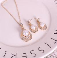 Mode Pearl Ohrringe Schmuck Set Frauen Hochzeit Kristall Tropf Form Anhänger Silber Halsketten Baumeln Ohrring Für Damen Braut Verlobungsgeschenk 304 G2
