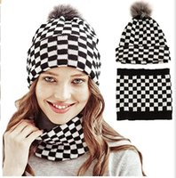 womens slouchy beanie warm adult winter scarf knitted hat lattice wool ball
