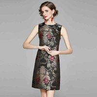 디자이너 봄 여성 럭셔리 자카드 드레스 섹시한 우아한 칵테일 파티 가운 여성 빈티지 꽃 탱크 드레스 Vestidos 210525
