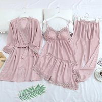 Plus Size Silk Robe Sleep Suit da donna in pizzo Satin Pigiama Abito Set V-Neck Pigiama Smentite Abbigliamento Inverno Pijama Home Nightwear M-XXL