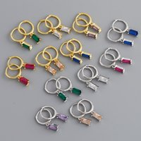 Dangle & Chandelier Real 925 Sterling Silver Square Zircon CZ Drop Earring Rectangle Green Blue Red Purple Crystal Circle Pendiente Piercing Luxury Jewelry 2021