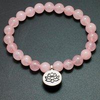 Beaded, Strands Natural Pink Crystal Bracelet Healing Biddha Charm Bracelets Wrist Mala Beads Stone Lotus Yoga Chakra Jewelry Women