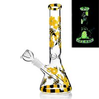 Colorful Bee Tall Glass Bongs Hookahs Beaker Base Smoking Water Pipes Downstem Perc Bubbler Chicha Accessory Dab Rigs 18mm Bowl