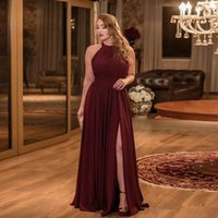 Bridesmaid Dress Sexy Burgundy Chiffon Halter Sleeveless Ruched Simple Slit Floor Length Party Dresses Gowns