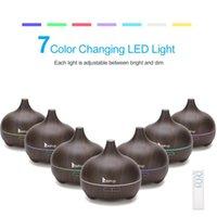 Duftlampen 110V 14W 550ml Aroma Diffusor dunkelbrauner Kunststoff mit weißer Fernbedienung und buntem Licht