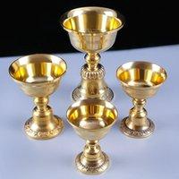 الذهبي النحاس زبدة مصباح حامل الديكور المنزل حاملي شمعة معدنية الأنشطة الدينية الشمعدانات البوذية