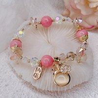 Bangle Crystal Pink Purple Blue Natural Stone Bracelets Women Jewelry