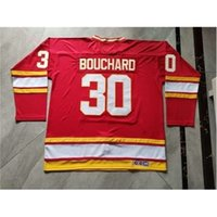 3740Custom homens juventude mulheres personalizam chamas atlanta # 30 Daniel Bouchard Hockey Jersey Tamanho S-5XL
