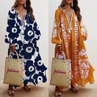 Ethnic Clothing Women Loose Dress Floral Printed Fashion Long Elegant Party Prom Summer V-Neck Femme Plus Size Vestido Robe Bohemain