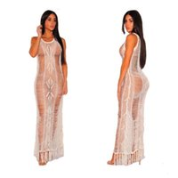 style Casual Dresses Ins women's tassel embroidery perspective cut out backless dress Beach Bikini Swimsuit T-shirt