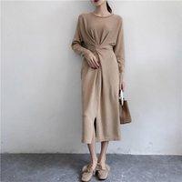 Robes décontractées Nefeilike Winter pour Femmes Style Européen Chemise à manches longues à manches longues haute