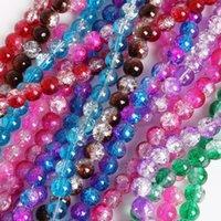 4 мм 6 мм 8 мм 10 мм Двухтоносный цвет стеклянного стекла Crackle бусины круглые свободные разные бусины для ювелирных изделий изготовления DIY браслет ожерелье 1935 Q2
