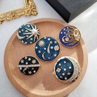 Pins, Brooches Muylinda Enamel Pin Art Starry Sky Oil Painting Brooch Badge Rhinestone Pearl Shirt Lapel Buckle Jewelry Gift