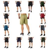 Diseñador hombres LU pantalones cortos cintura elástica Lulu Sport secado rápido Carrera Cuarto de ocio Fitness Mens Yoga Sports Shorts de la rodilla Longitud de la pista Pollado de la rodilla Sweetpants