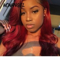 Wowangel Burgundy 99J Lace Front Human Hair Wigs Colored Body Wave Pre Plucked Bleached Knots Brazilian Remy Hair Transparent