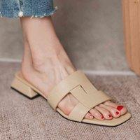 Real Learn Open Teen Outside Slides Women Sandals Flats Square Hook Short Women Shoes Fashion Women Modern Slippers Muilezels J0513