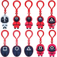 Popular Toy Squid Game Keychains Ring Gifts PVC Soldier Decoration Anime Around Wooden Man Pendant Figure Car Backpack Charms Keyring Chain Accessories 10 Designs