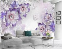 Wallpapers 3d Wallpaper Diamond Pearl Butterfly Purple Flowers Home Decor Living Room Bedroom Wallcovering HD