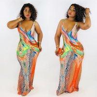 Scoop Boyun Ince Seksi Maxi Elbiseler Moda Eğilim Kolsuz Bayan Sling Uzun Etekler Tasarımcı Yaz Kadın Yılanlı Çiçek Baskılı Elbise