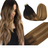 Tape ombre dans une extension de cheveux brun foncé à la châtaigne brun et salée Balayage blonde 100% réel Remy Ruban dans des extensions de cheveux humains