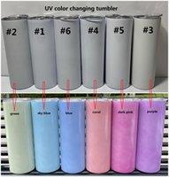 Süblimasyon UV Renk Değiştirme Tumbler Güneşte Glow Düz Tumblers Paslanmaz Çelik Kupası Kapakları ve Saman Ile Çift Duvar