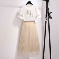 Female set of two pieces, printed shirt with short sleeve + skirt knitted or crocheted elastic waist, girl's clothing, summer,