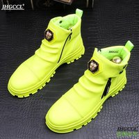 New platform white loafers high-end leather boots anti-wrinkle high-top party wedding shoes punk comfort shoe