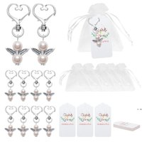 Angel Favor Keychains Thank You Tags Gift Bags Guest Return Favors Baby Shower Bridal Shower Wedding Gifts HWD6421