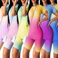 2021 Summer Women Tracksuits Camiseta de manga corta + pantalones cortos de gradiente Color de 2 piezas JOGGER Sets Trajes de yoga Ropa de gimnasio más Tamaño