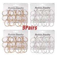9Pairs Punk Hoop Earrings Set Big Circle Jewelry For Women Girls Steampunk Ear Clip Earring Ring & Huggie