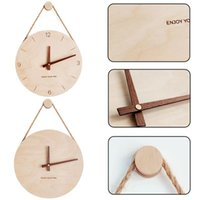 1Pc Nordic 3D Wooden Wall Clock Living Room Kitchen Decorative Hanging Art Digital Watch (without Battery) Clocks